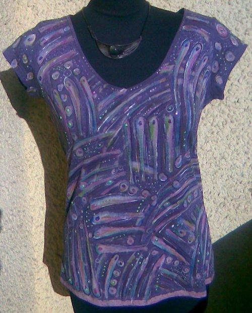 Šedofialové triko-vymalované