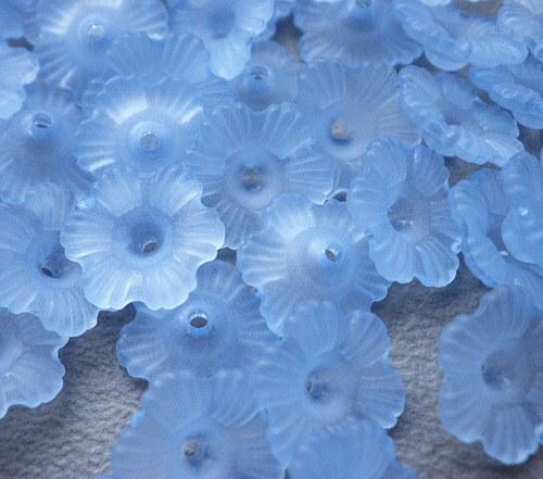 Akrylová květina modrá, 11mm - 10ks