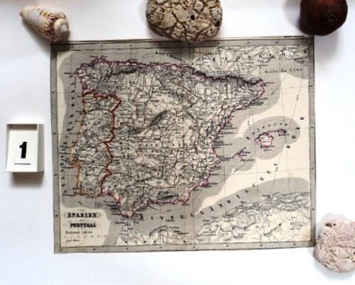 Mapy k dekoraci ručně kolorované starým inkoustem