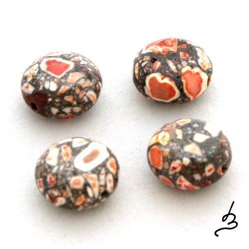 Mramorované oranžové placky - 4 ks