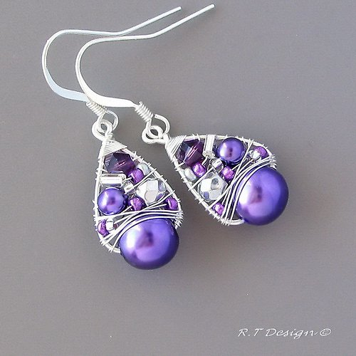 Náušnice Purple pralines...