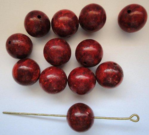 Červený pěnový korál  - kulička 12mm