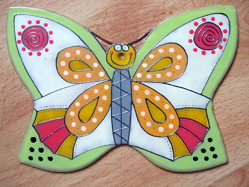 Skleněný závěs - motýlek