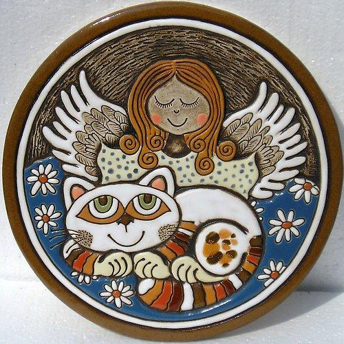 Keramický obrázek - Andělíček a kočka K-130-N1