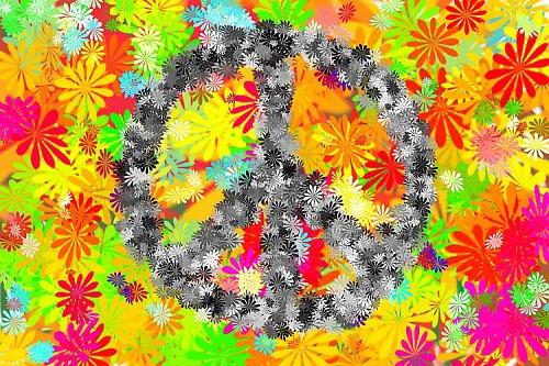 Plakát hippies - květiny