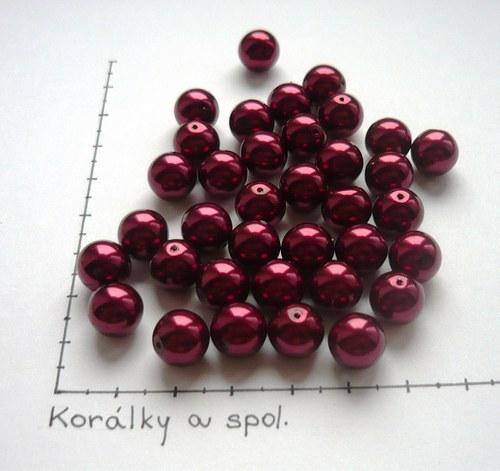 Perle skleněné voskované bordové 10mm, 6ks