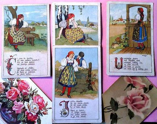 Písnička lidová - pohlednice sada