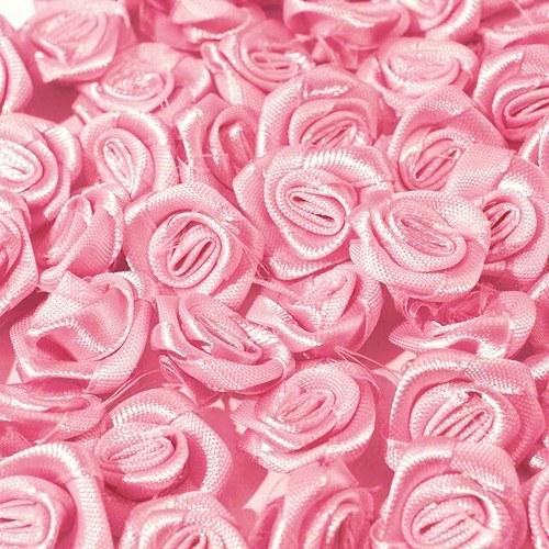 Aplikace růžička saténová 12mm - růžová (10ks)