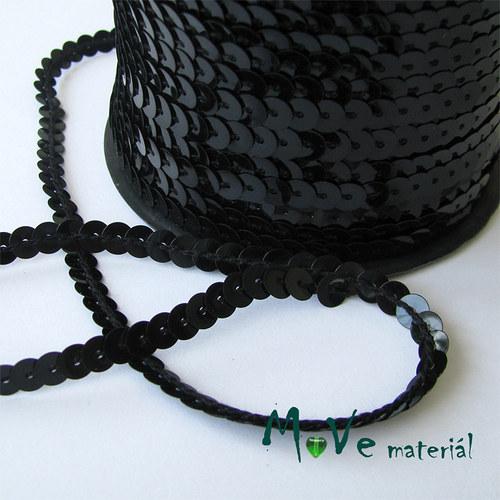 Flitry na šňůře šíře 6mm hladké, černé, 1m