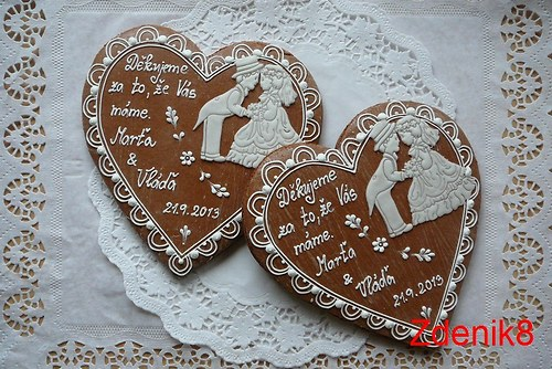 Svatební srdce děkovné v bílé  - balené