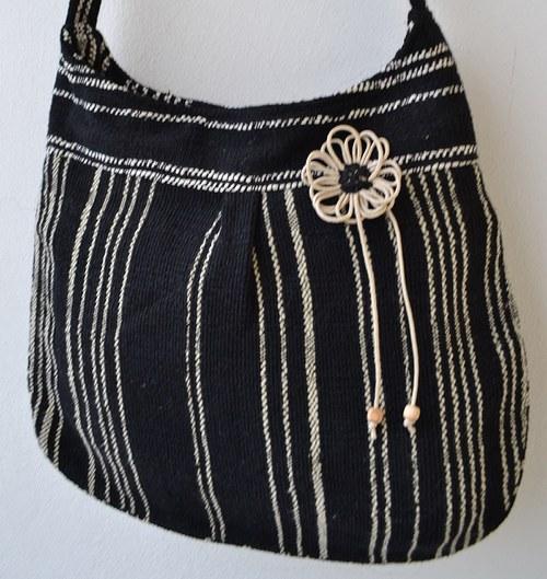 černá se smetanovými proužky..kabelka, taška