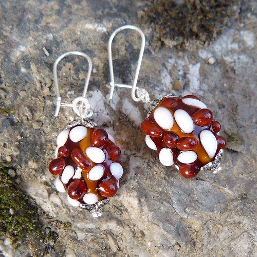 Náušnice - hnědé mozaikové olivy