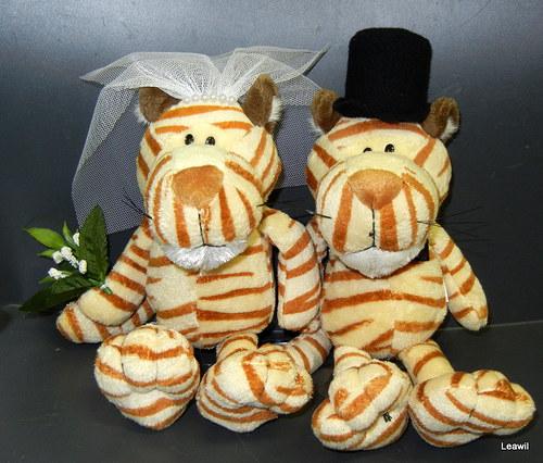 Svatební plyšáci na auto - tygříci Nici