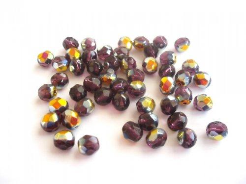 Broušené perle fialové se zlatem