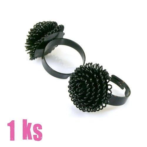 Základ na prsten černý s očky, 1 ks