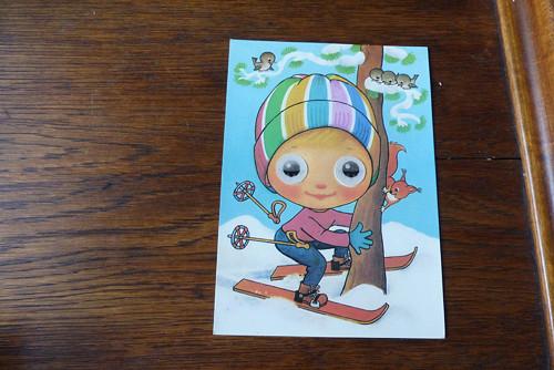 Lyžař s veverkou...mrkací pohlednice