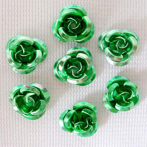 kovový korálek růže/ zelená/ 10 mm/ 10ks