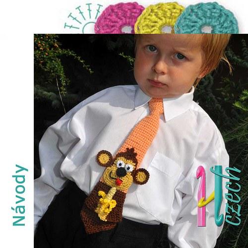 Háčkovaná kravatka opička