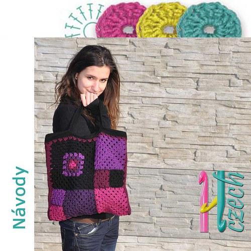 Háčkovaná taška ala patchwork fialka