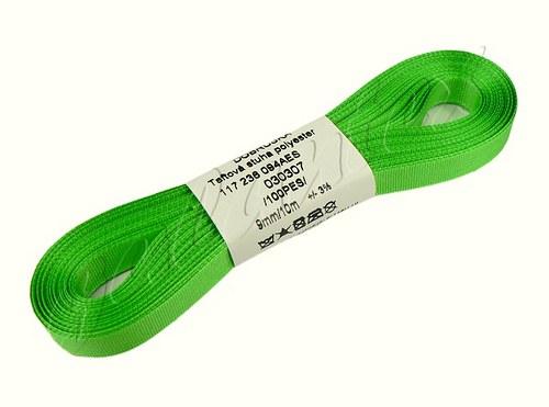 Stuha taftová 9mm x 10m / 307 - zelená jarní