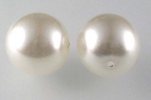 Voskové perle - bílé 14 mm 2ks