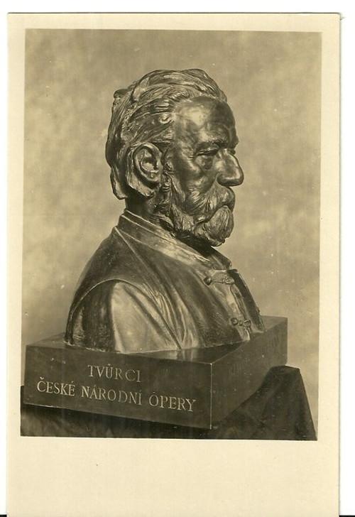 Umělecká pohlednice socha J.V.Myslbek B.Smetana
