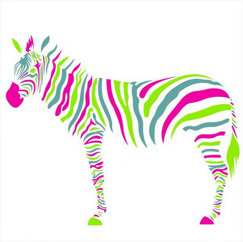 60x74cm Zebra Farebná nálepka 1721f