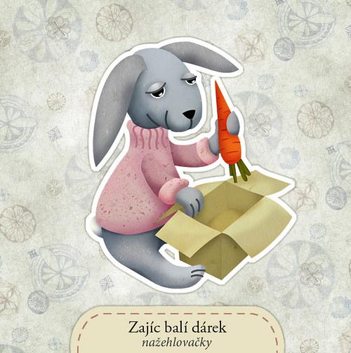 Zajíc balí dárek - nažehlovačka