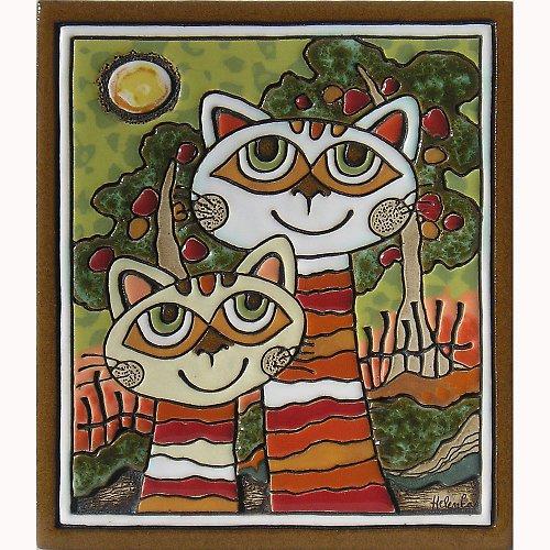 Keramický obrázek - Krkatý kočky K-112-Z