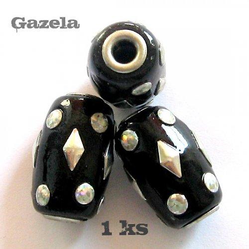 Korálek s kovem - černý - 1 ks