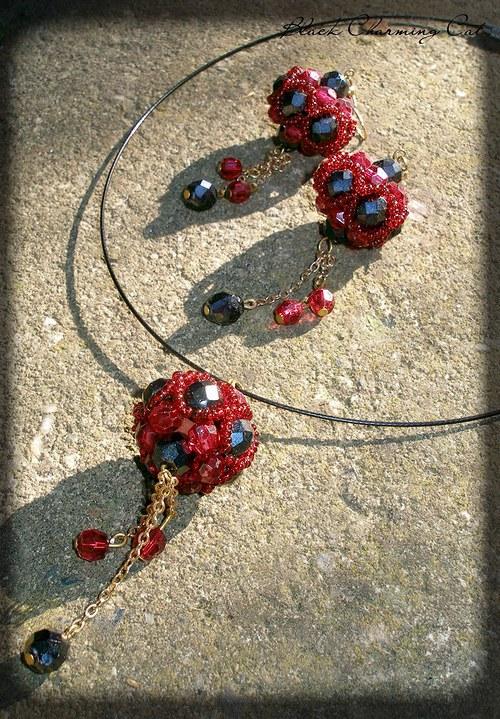 SLEVA - Gothic - sada šperků v červené a černé