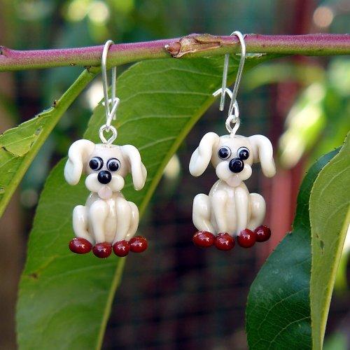 Náušnice pes -  slonová kost - vinuté perle