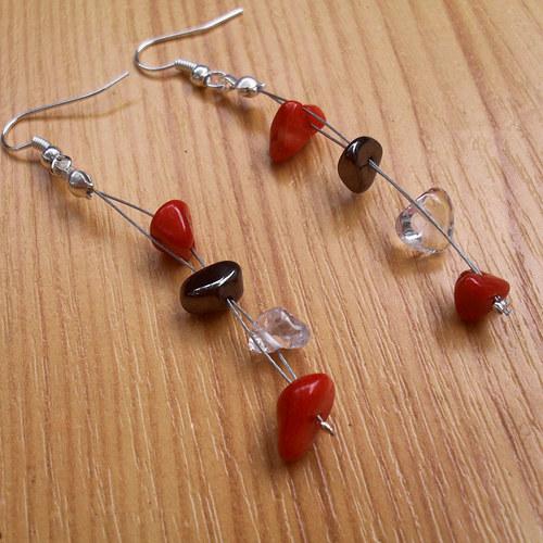 Červený korál, hematit a křišťál  - lanko