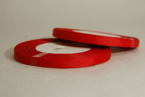 Rypsová stuha 7 mm zařívá červená