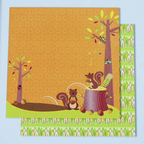 Glitrový scrapbook papír - veverky 115