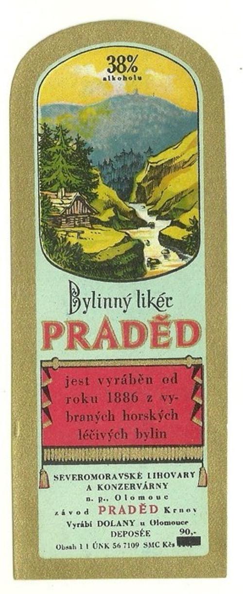 Etiketa Bylinný likér Praděd Olomouc