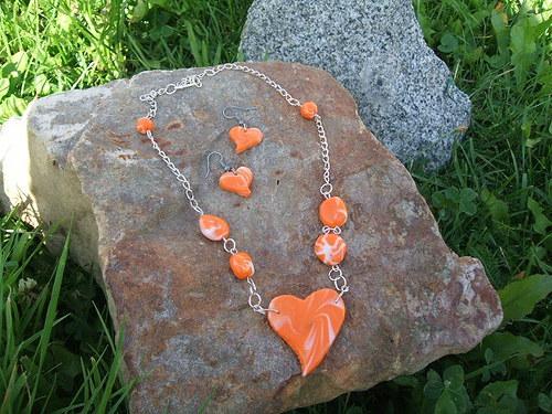 souprava Pomerančové srdce