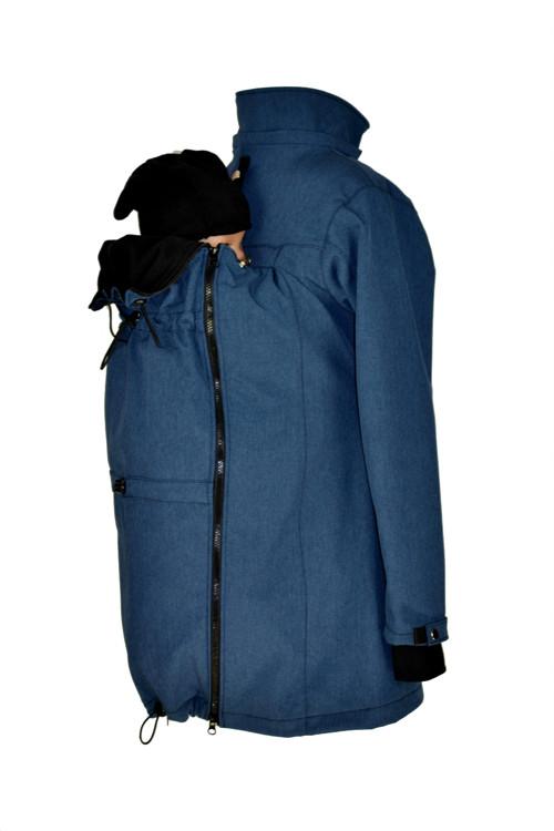 Soft.kabát modrý, pro zadní/přední nošení-zimní