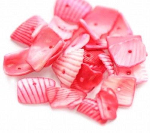 Korálky mušle 200g - řezané plátky, světle červená