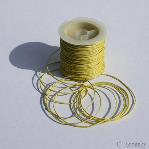 Bavln. vosk. šňůrka šíře 1 mm,žlutá - cena za 3 m!
