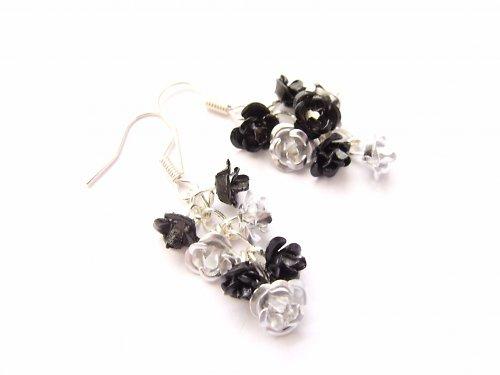 Květinkové náušnice - stříbrno černé