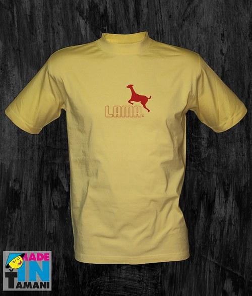 Pánské světle žluté tričko s Lamou 05