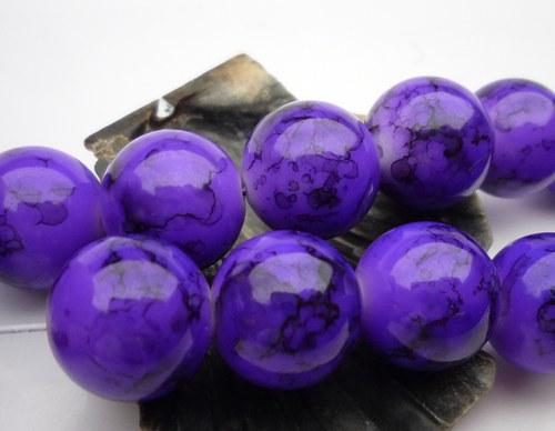 fialové skleněné korálky 6 ks, 12,5mm,