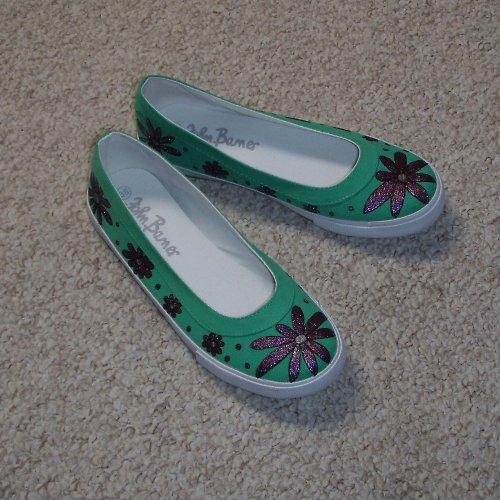 Zelené kytičkové balerínky - sleva z 499,- Kč