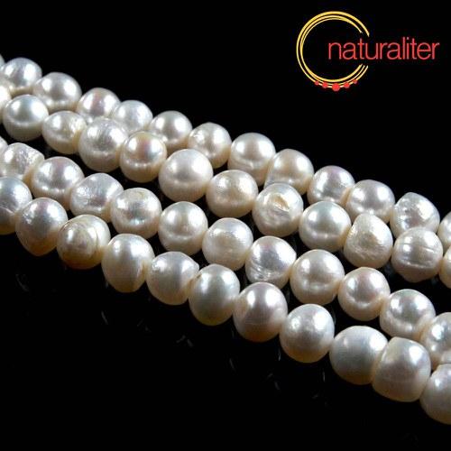 Říční perly bramborové bílé, 8-9mm, B, návlek 35cm