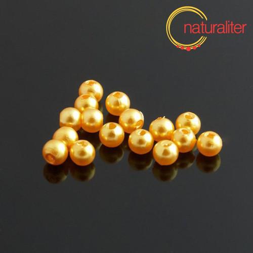 Voskované perly, zlaté, 4mm, 100ks