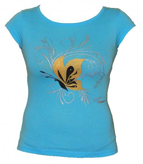 Tyrkysové triko s motýlem vel. L