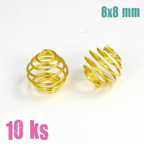 Zlatá klec na korálek 8x8 mm, 10 ks
