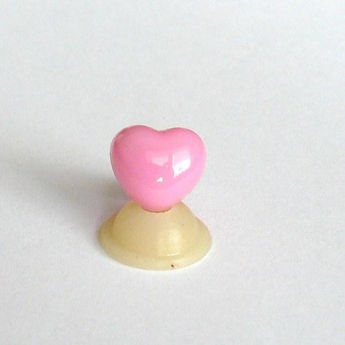 """Bezpečnostní nos \""""srdíčko\"""" - růžový, 12 mm"""