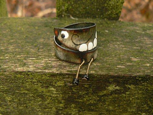 Smaltovaný prsten...Ptáček